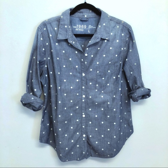 94e03aa7eb7 🆕 GAP 1969 Collection | Polka Dot Denim Shirt